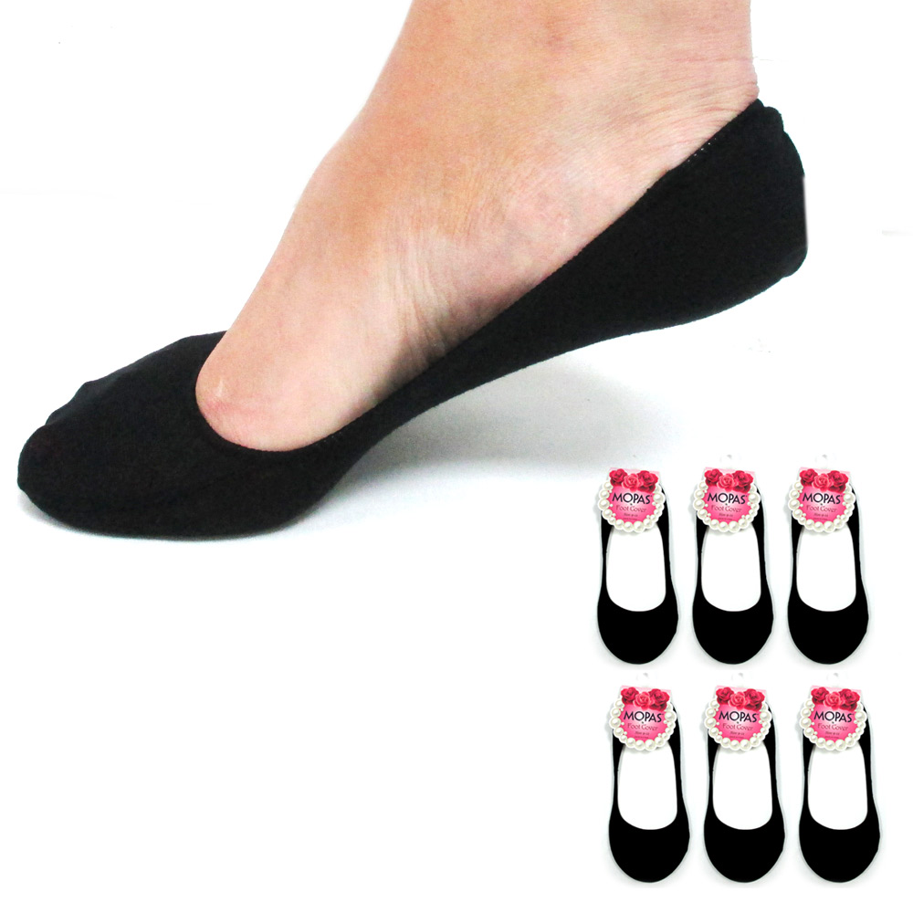 Lot Of 12 Pairs Womens Loafer Boat Foot Liners Covers Black Low Cut Size 9-11