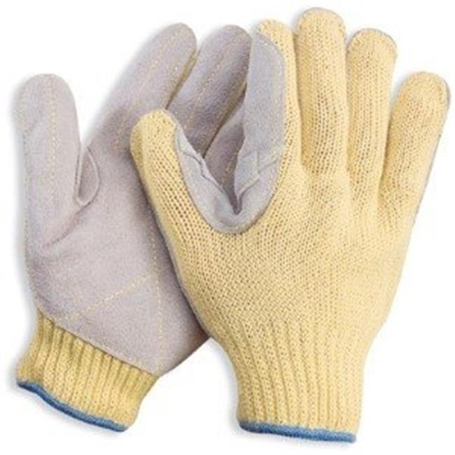 Indogem 11409L Kevlar Gloves with Split Leather Palm, Yel...