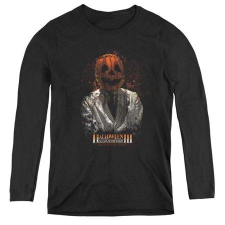 Uni Halloween Costumes (Trevco Sportswear UNI504-WL-3 Womens Halloween III & H3 Scientist Long Sleeve T-Shirt, Black -)
