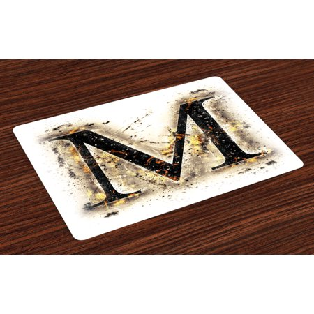 Letter Writing Set - Letter M Placemats Set of 4 Language Writing School Themed Name Initials in Fire Background Steamy Print, Washable Fabric Place Mats for Dining Room Kitchen Table Decor,Tan Black Orange, by Ambesonne