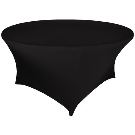 Wedding Linens Inc. Wholesale (200 GSM) 5 FT (60 in) Round Spandex Stretch Fitted Table Cover Tablecloths - Black - Wholesale Tablecloths For Weddings