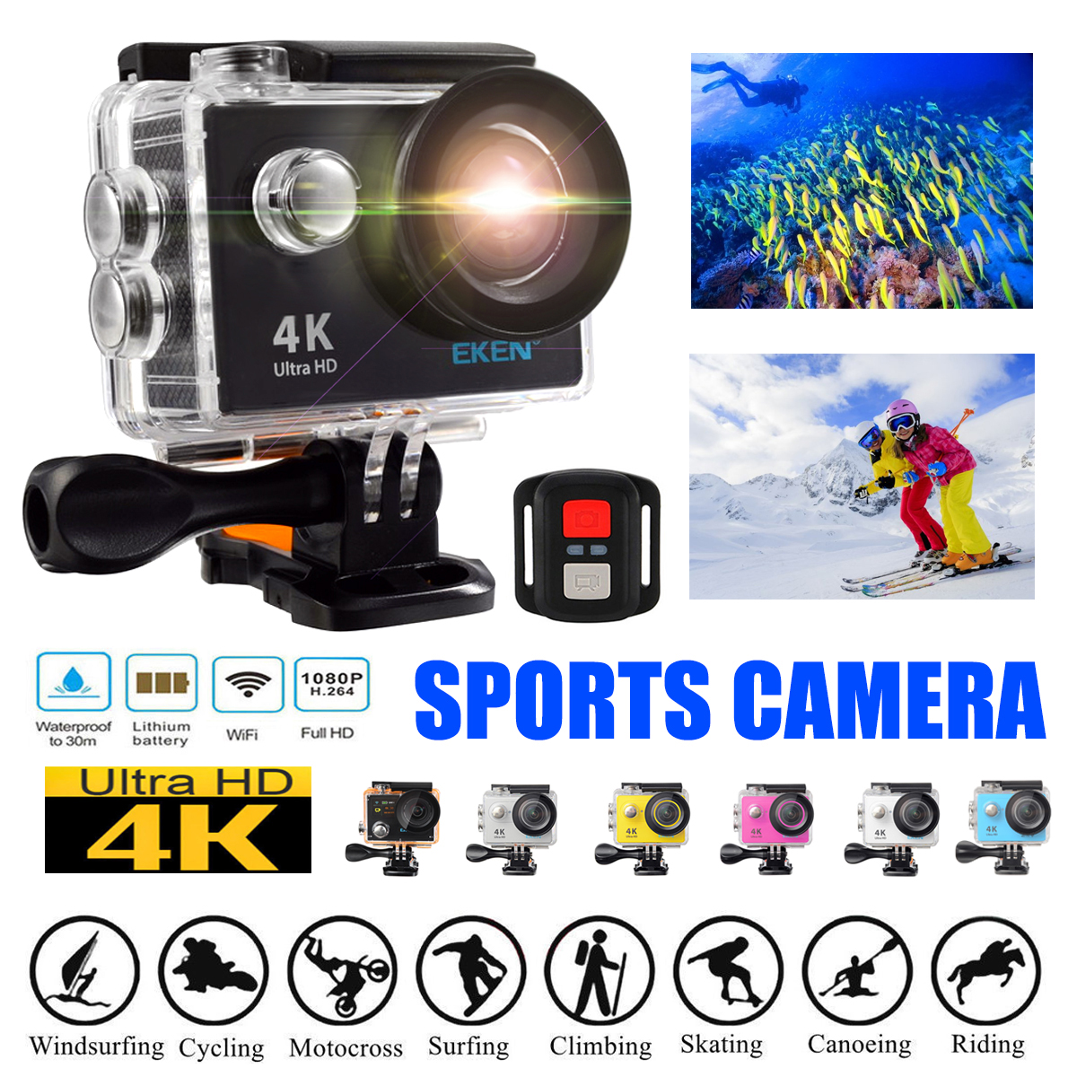 "EKEN H9R 4K Video Ultra HD 2"" Screen 12MP Photo WiFi Sports Action Camera with 2.4G Remote Controller,170° Wide Angle DV Camcorder Waterproof"