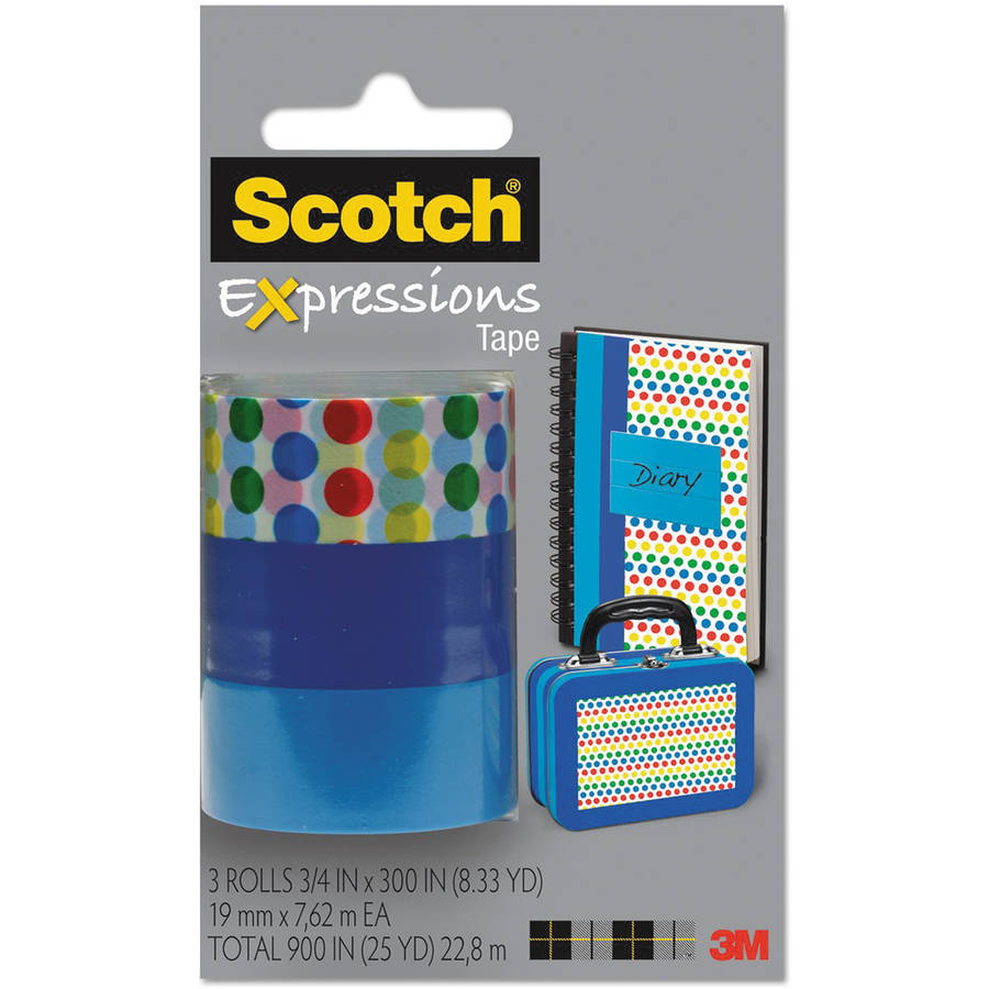 "Scotch Expressions Magic Tape, 3/4"" x 300"", Assorted Dots, 3 Pack"