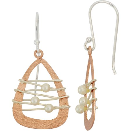 5th & Main 14kt Rose Gold-Plated and Sterling Silver Dream Catcher Earrings with Pearl