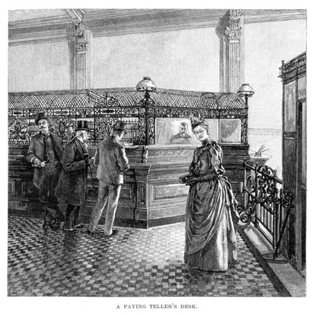 Banking 19Th Century Na Paying Tellers Desk Steel Engraving 19Th Century Rolled Canvas Art     18 X 24