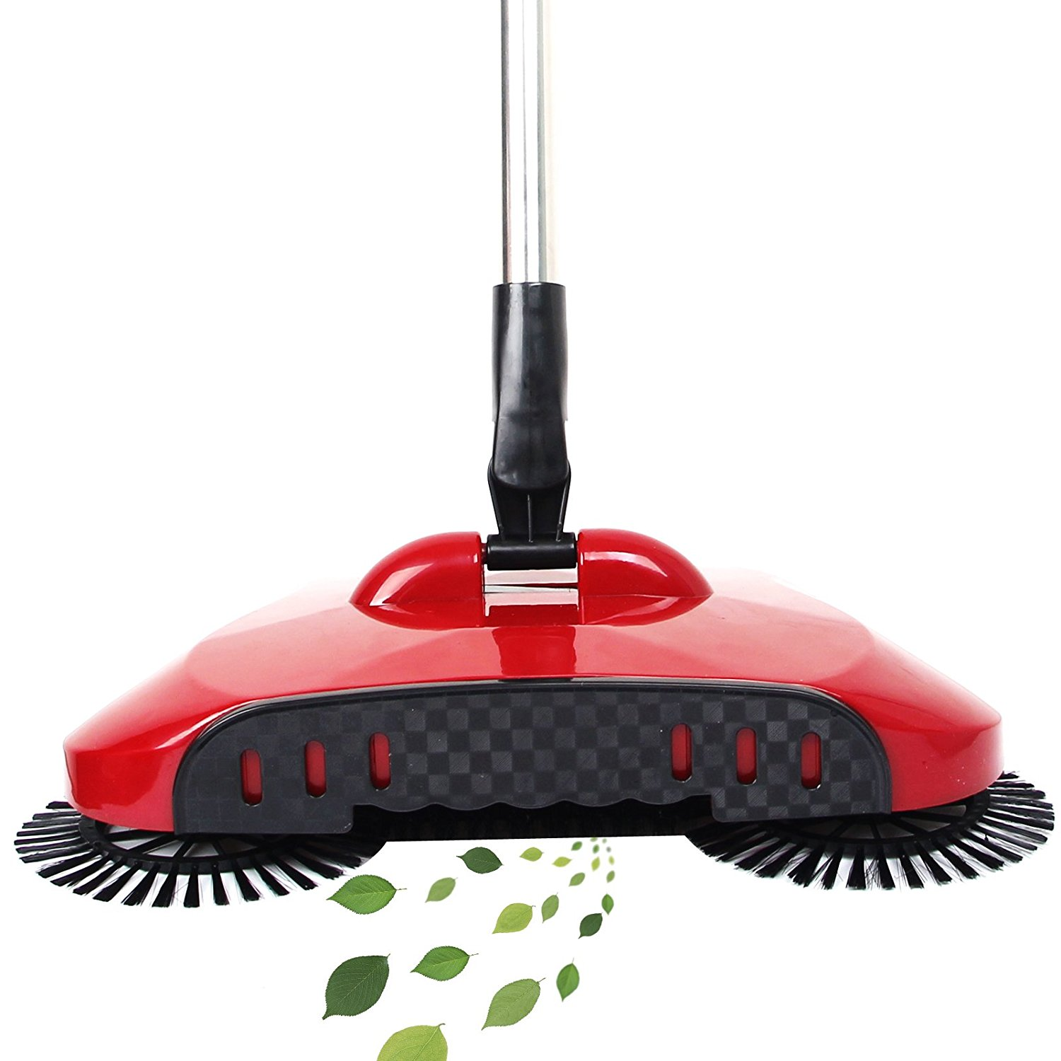 3 in 1 Household Automatic Hand Push Sweeper Broom 360 Degree Rotating Cleaning Machine Sweeping Tool Without Electricity Dustpan Trash Bin (Red)
