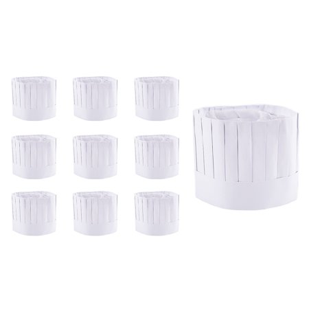 Disposable 9' Paper Chef Tall Hat Set for Home Kitchen, Food Restaurants, Classes (10 - Party Chef Hats