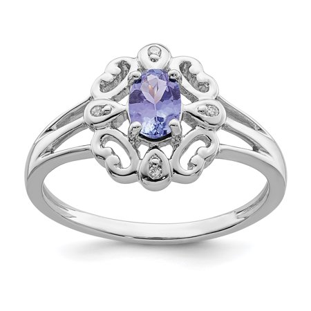 925 Sterling Silver Diamond Blue Tanzanite Oval Band Ring Size 9.00 Gemstone Fine Jewelry Gifts For Women For Her - image 6 de 6