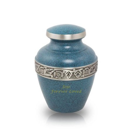 Bronze Cremation Urn - Small 70 Pounds -  Blue Evening Blue Avalon - Custom Engraving Included