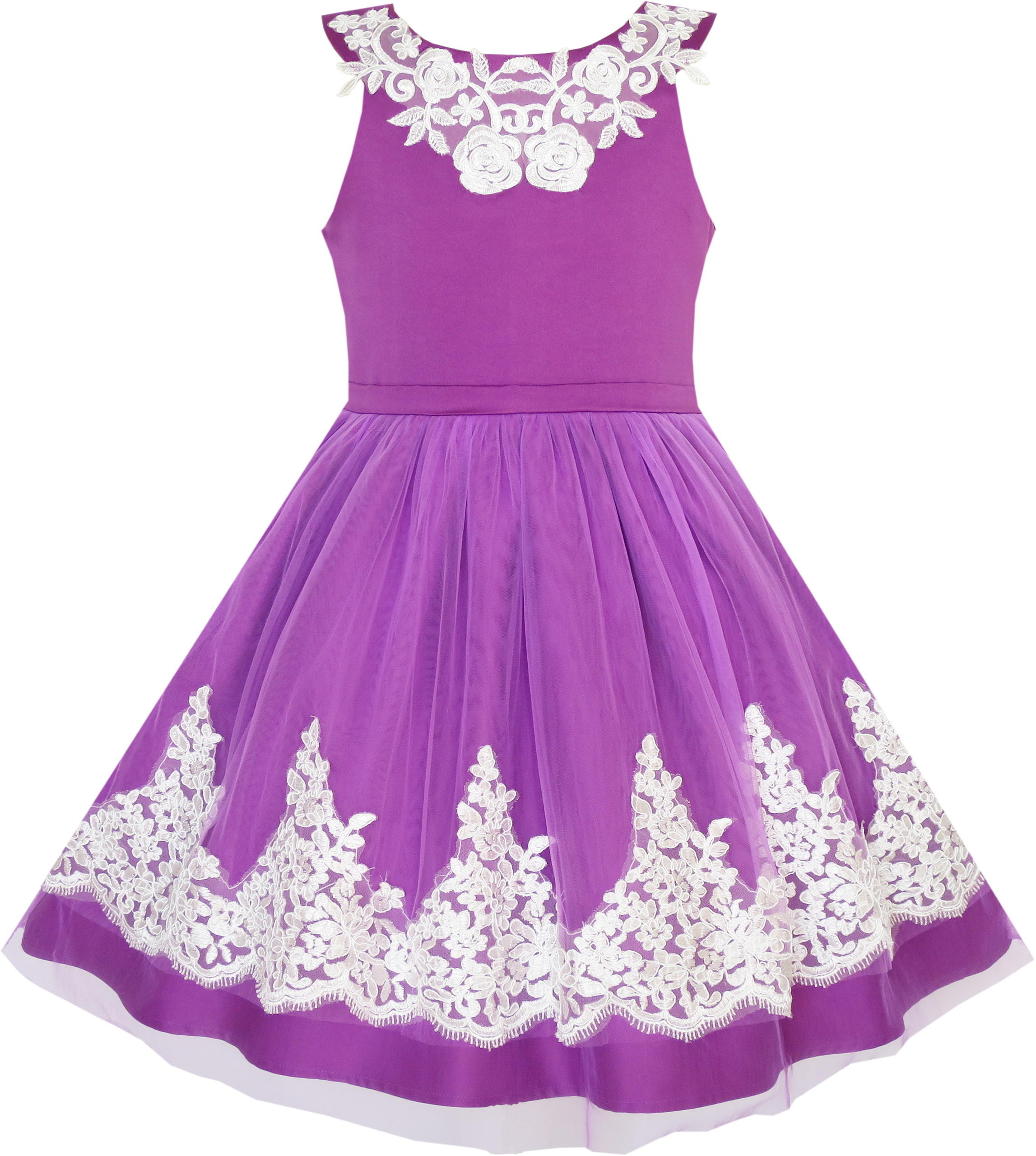 Sunny Fashion Flower Girls Dress Blueviolet Lace Pageant Wedding Party Size 7-14