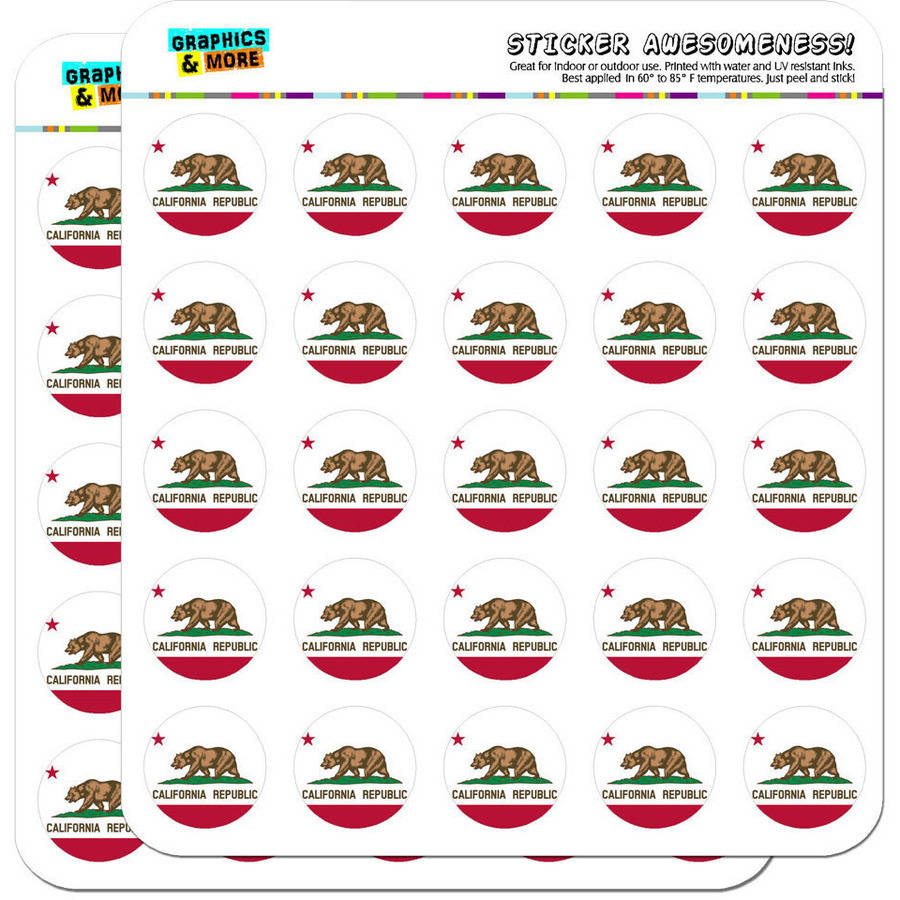 "California Republic State Flag 50 1"" Planner Calendar Scrapbooking Crafting Stickers"