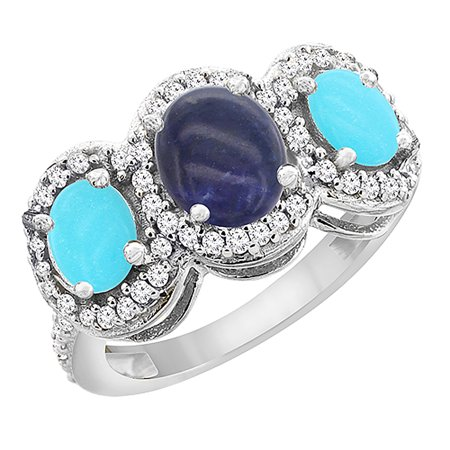 14K White Gold Natural Lapis & Turquoise 3-Stone Ring Oval Diamond Accent, size 8.5