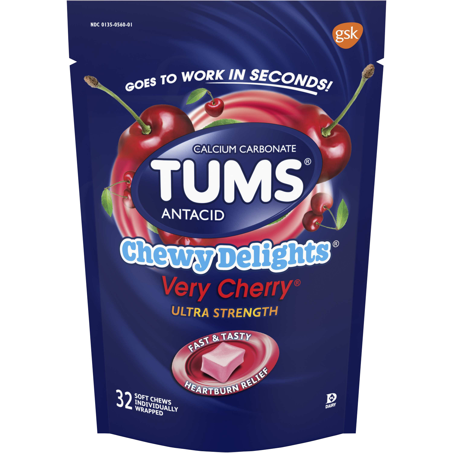 TUMS Antacid, Chewy Delights Very Cherry Ultra Strength Soft Chews for Heartburn Relief, 32 count