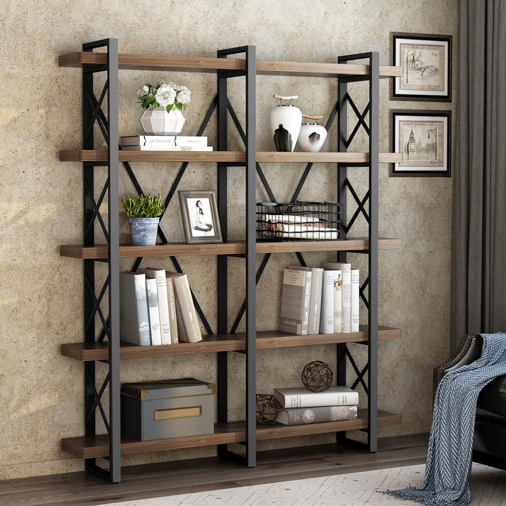 Little Tree 5 Tier Double Wide Open Bookcase Solid Wood Industrial Large Metal Bookcases