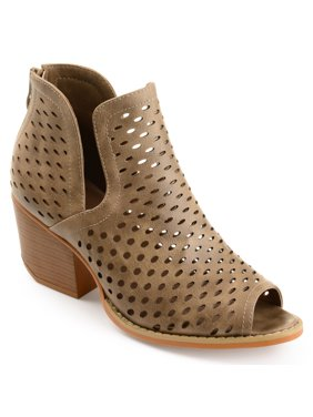 57a4fce3c4cc4 Womens Faux Leather Side-slit Open-toe Perforated Booties