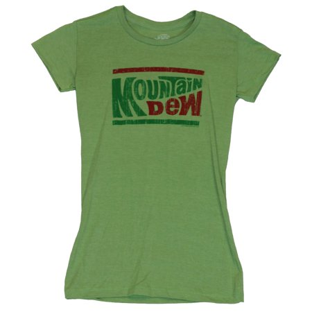 - Mountain Dew Girls Juniors  T-Shirt -  Two Color Classic Old School Logo Image