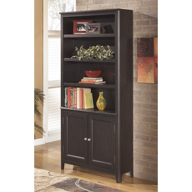 Ashley Carlyle Large Bookcase with Doors in Almost Black