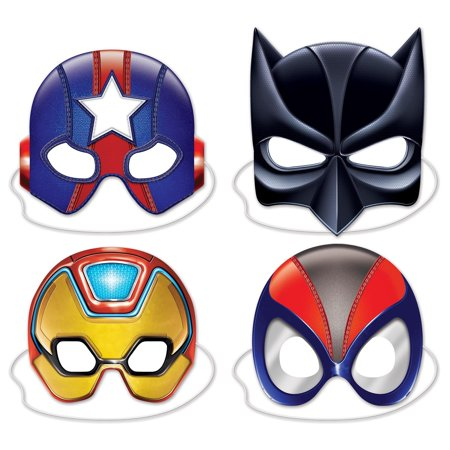 "Club Pack of 48 Halloween and Party Deluxe Hero Half Face Mask 10"" for $<!---->"