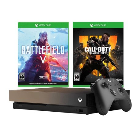 Microsoft Xbox One X Call of Duty BO4 and Battlefield V Gold Rush Special Bundle: Battlefield V Deluxe Edition, Call of Duty Black Ops 4, 1TB Gray Gold Xbox One X 4K HDR Gaming Console
