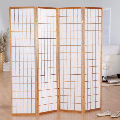 Jakun Honey Shoji 4 Panel Room Divider with Optional Stand