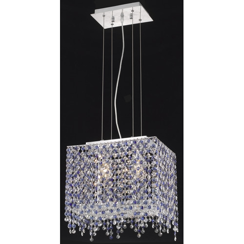 1391 Moda Collection Hanging Fixture L14in W9.5in H11in Lt:2 Chrome Finish (Elegant Cut Crystals)