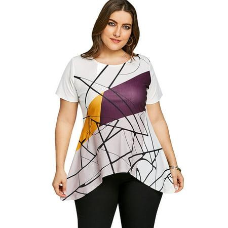 984ef9aec NEXTMIA - Summer Blouses For Women Plus Size Line Graphic Asymmetric T-shirt  - White - Walmart.com
