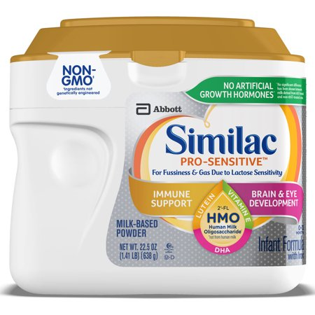 Similac Pro-Sensitive Non-GMO with 2'-FL HMO Infant Formula with Iron for Immune Support, Baby Formula 22.5 oz Tubs (Pack of