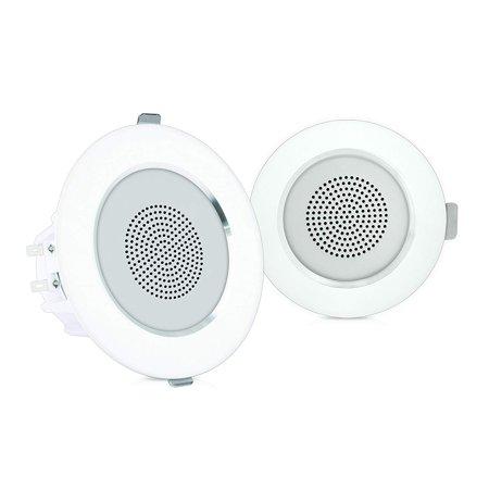 "4"" Ceiling Wall Mount Speakers - Pair of 2-Way Full Range Sound Stereo Speaker Audio System Flush Design w/ Aluminum Alloy Frame Housing 60Hz - 20kHz Frequency Response & 160 Watts Peak - Pyle"