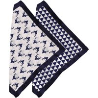 Bacati - Tribal Navy Buck/Triangles Muslin 2-Piece Security Blankets with Sateen Trim