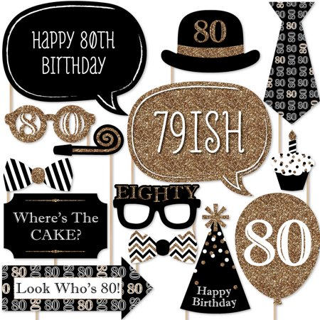 Adult 80th Birthday - Gold - Birthday Party Photo Booth Props Kit - 20 Count