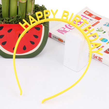 SHOPFIVE 2Pcs Girls Kid Plastic Hairband Hair Hoops Happy Birthday Party Hair Accessories (Happy Birthday Headband)