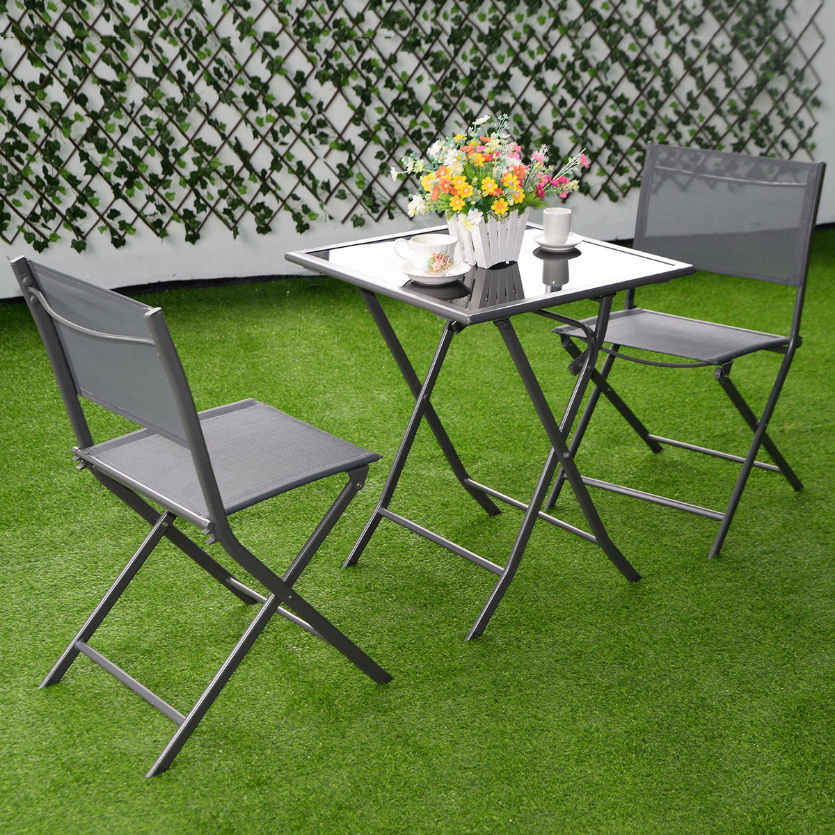 Bistro Table And Chairs Outdoor costway 3pcs bistro set garden backyard table chairs outdoor patio