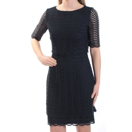 AMERICAN LIVING Womens Navy Eyelet Short Sleeve Jewel Neck Above The Knee Sheath Dress  Size: 14