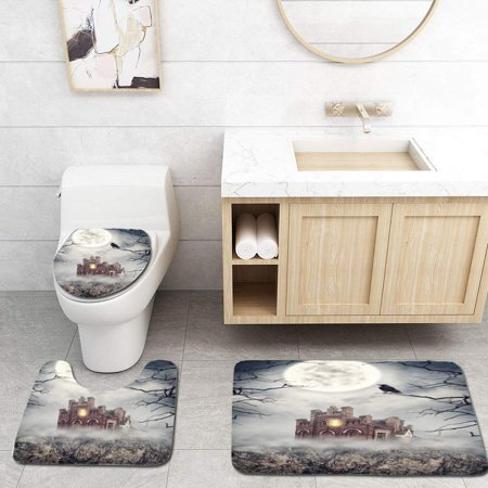 GOHAO Haunted Abandoned House on Rock Halloween Scene 3 Piece Bathroom Rugs Set Bath Rug Contour Mat and Toilet Lid Cover - Halloween 2017 Toilet Scene