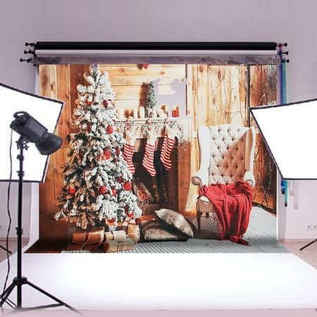 7x5FT Christmas Tree & Gift Photography Background Vinyl Studio Photo Prop Backdrop Decoration ()