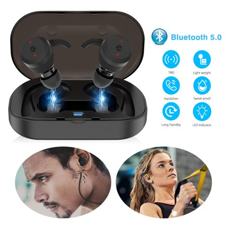 TSV V4.0 Bluetooth Headset, Wireless Earbud Headset with Microphone, 6-Hrs Playing Time Cell Phone Bluetooth Earpiece, Car Bluetooth Headphones for iPhone Samsung Android ()