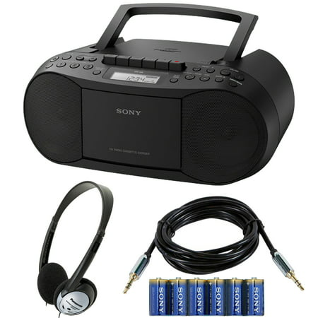Sony Stereo CD/Cassette Boombox Home Audio Radio with Headphone Bundle ()