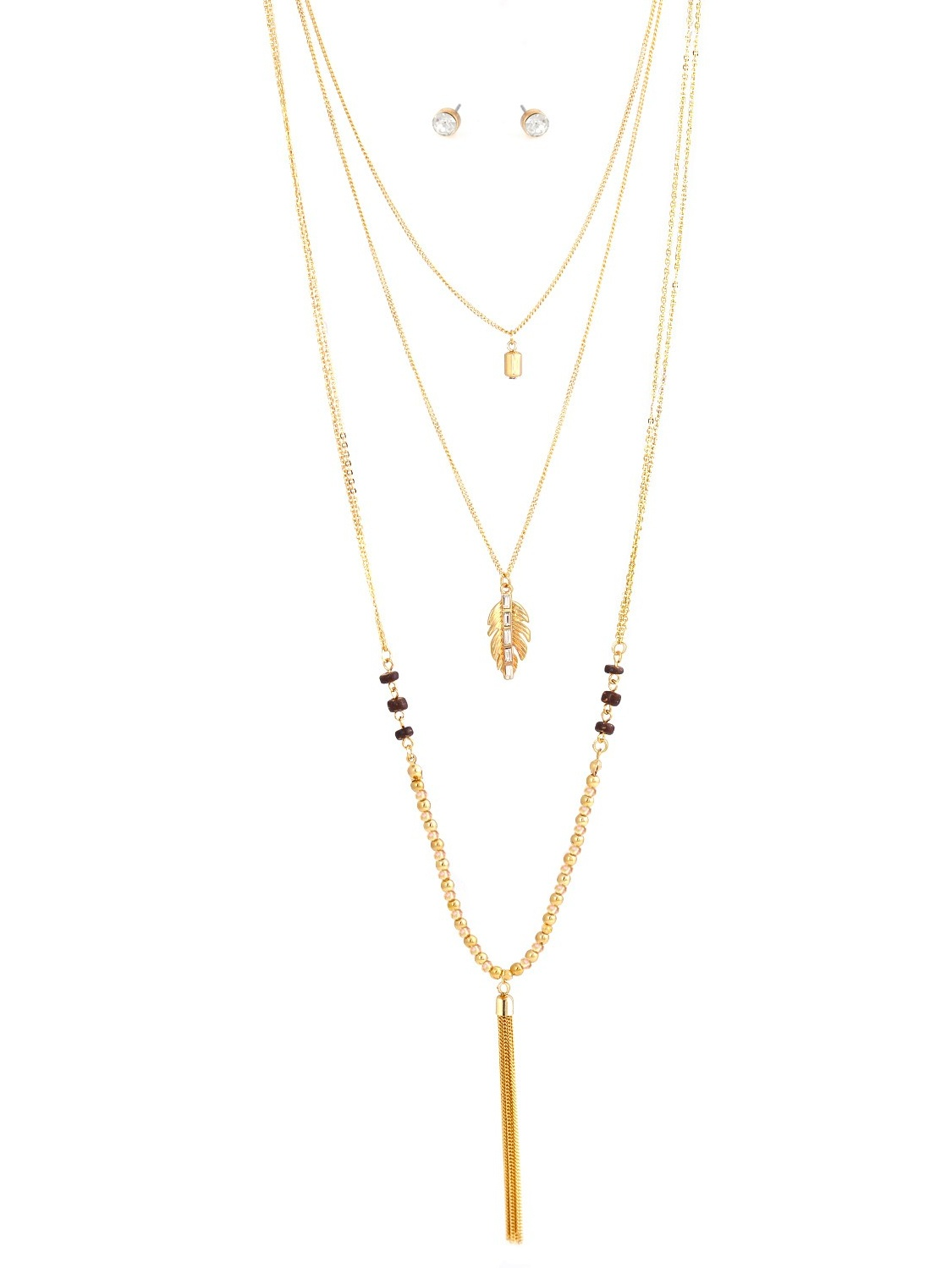 TAZZA WOMEN'S GOLD-TONE WOOD AND CRYSTAL LAYERED NECKLACE AND EARRING SET#S15816