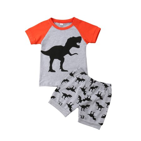 Fashion 2Pcs Toddler Kid Baby Boy Dinosaur Top T-shirt Short Pants Outfit Clothes Summer - image 1 of 1