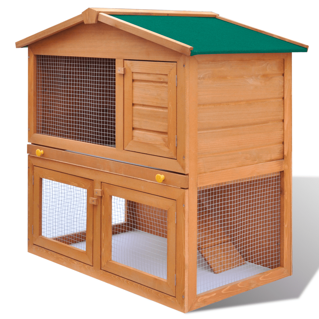 Anself Outdoor Rabbit Hutch Small Animal House Pet Cage 3 Doors Wood by