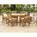 Manor Park Dark Brown 7-Piece Solid Wood Outdoor Patio Dining Set