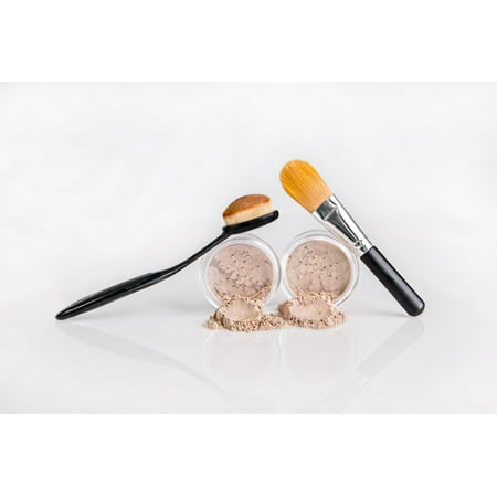 FOUNDATION & CONCEALER COMBO w/ BRUSHES Mineral Makeup Kit Full Size Set Matte Bare Face Sheer Powder Cover (DEEP TAN FOUNDATION & MEDIUM CONCEALER)