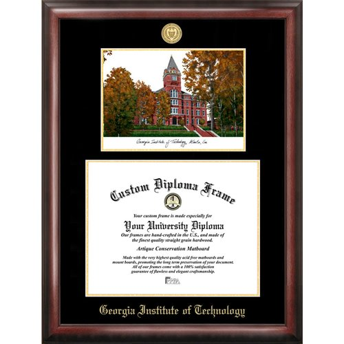 """Georgia Institute of Technology 14"""" x 17"""" Gold Embossed Diploma Frame with Campus Images Lithograph"""