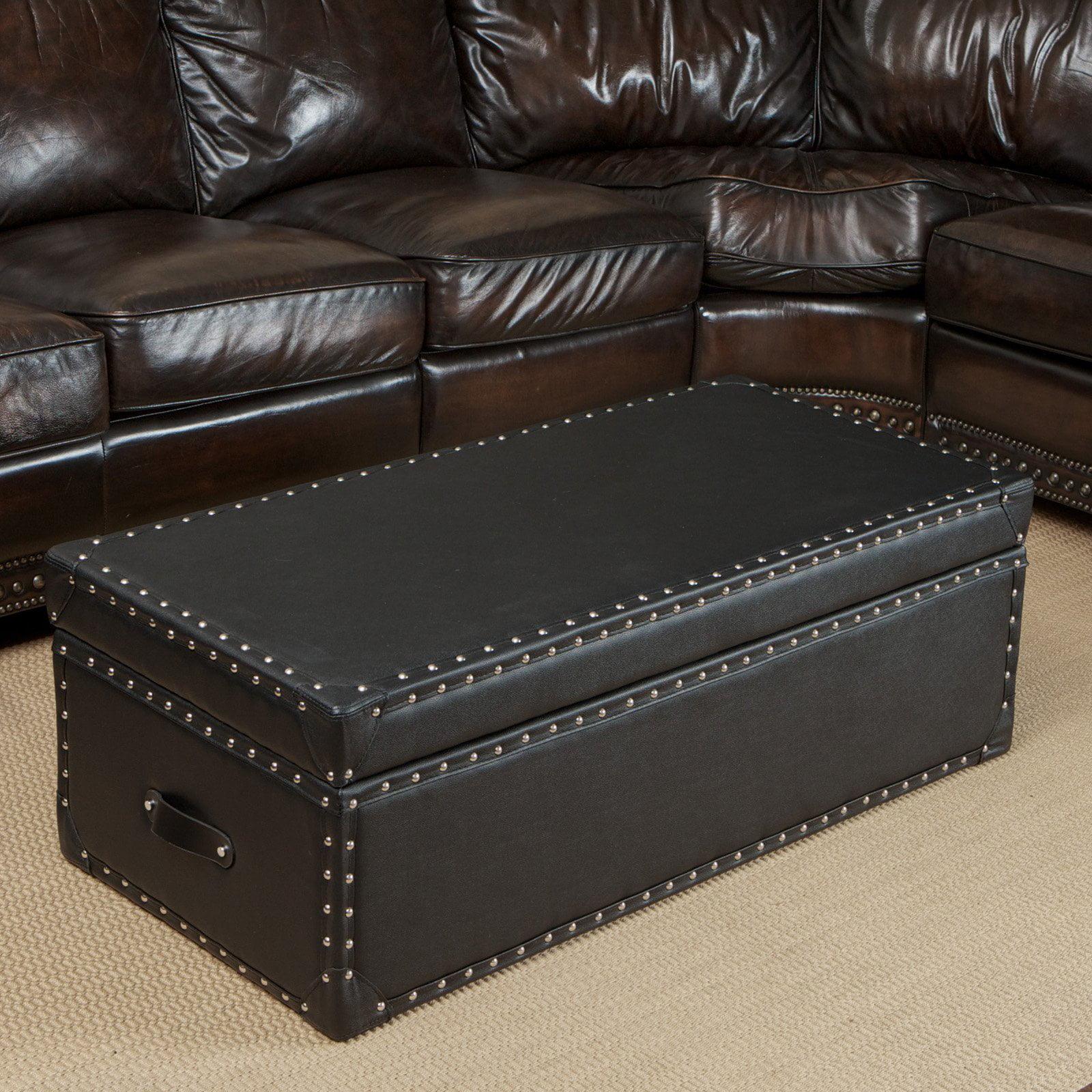Nino Leather Storage Trunk Ottoman