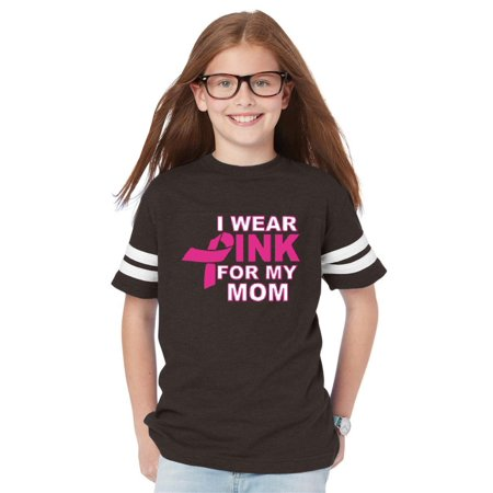 I Wear Pink My Mom Breast Cancer Awareness Youth Unisex Football Fine Jersey Tee - Breast Cancer Football
