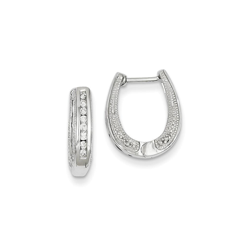 14k White Gold Diamond Hinged Hoop Earrings. Carat Wt- 0.2ct (9MM Long x 3.5MM Wide)