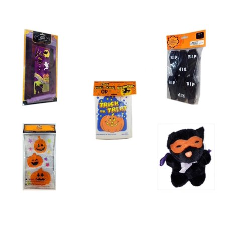 Halloween Fun Gift Bundle [5 Piece] - Happy  Door Panel - Tombstone Containers Party Favors 6 Count -  Trick or Treat Bags 40/ct - Gel Clings Pumpkins, Stars - Manley Toys  Costume Cat Plush 5