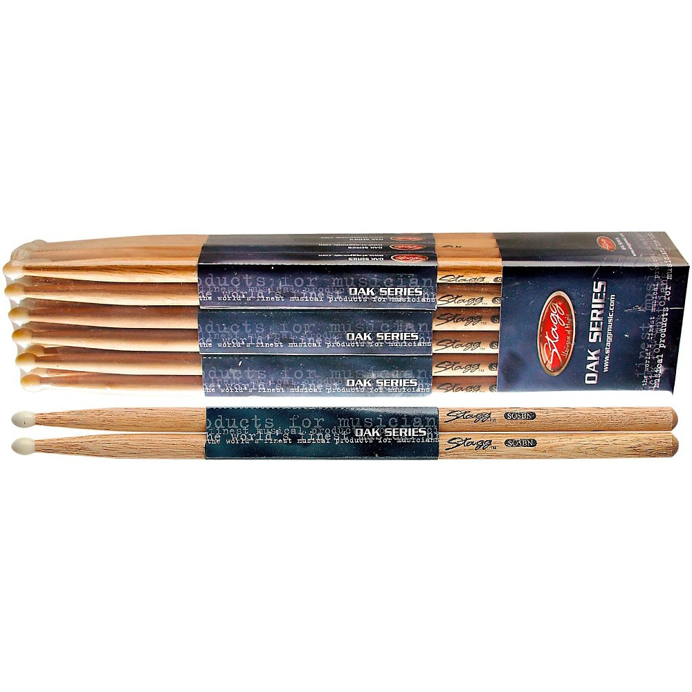 Stagg 12-PAIR OAK DRUM STICKS Nylon Tip 5BN
