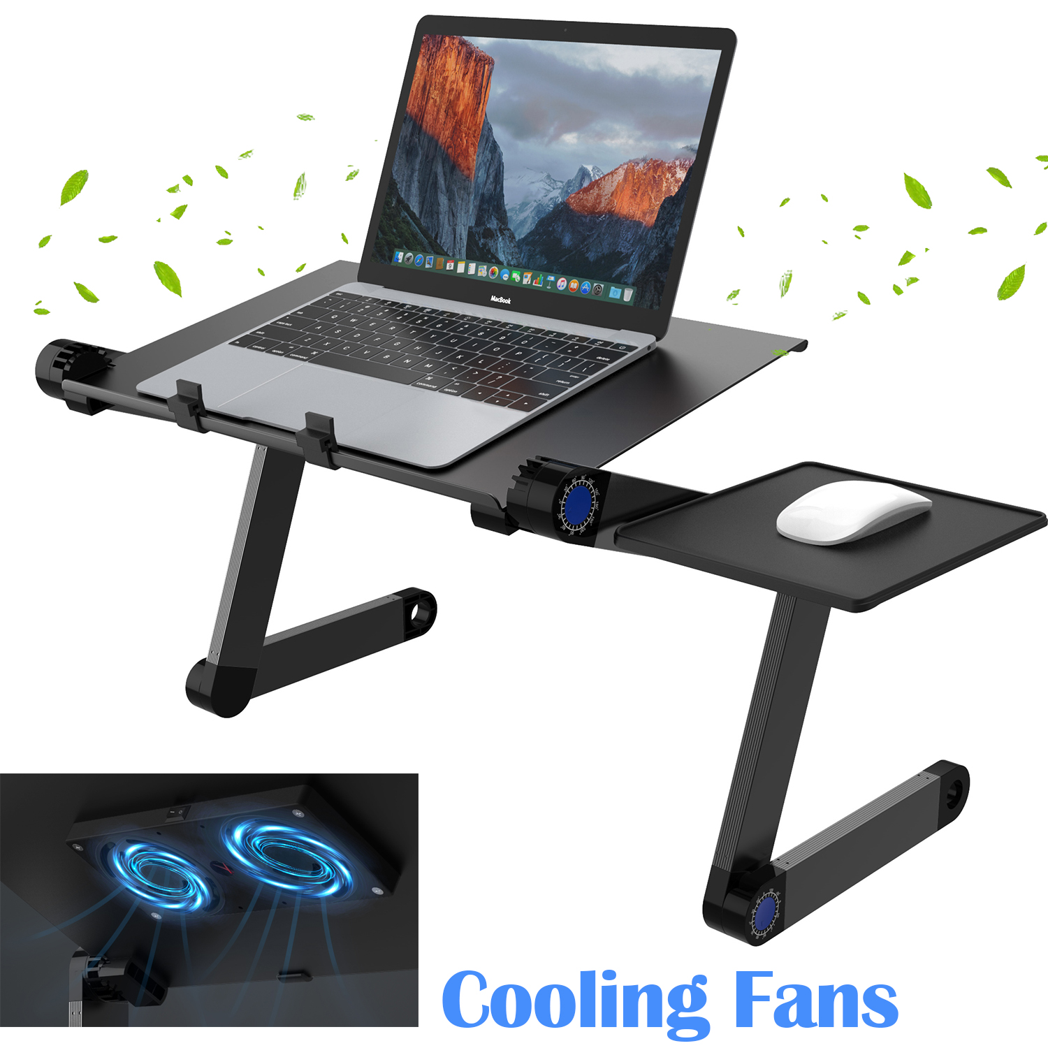 SLYPNOS Adjustable Laptop Stand Folding Portable Standing Desk Cooling Ventilated Aluminum Laptop Riser Tablet Holder Notebook Tray with Cooling Fans, Detachable Mouse Tray for Desk Bed Couch, Black