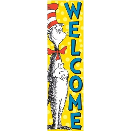 Dr. Seuss Vertical Classroom Banner, Cat in The Hat WeWalmarte, 4 ft.(849664), Colorful banner designed to decorate walls and bulletin boards By Eureka](Decorate Classroom)